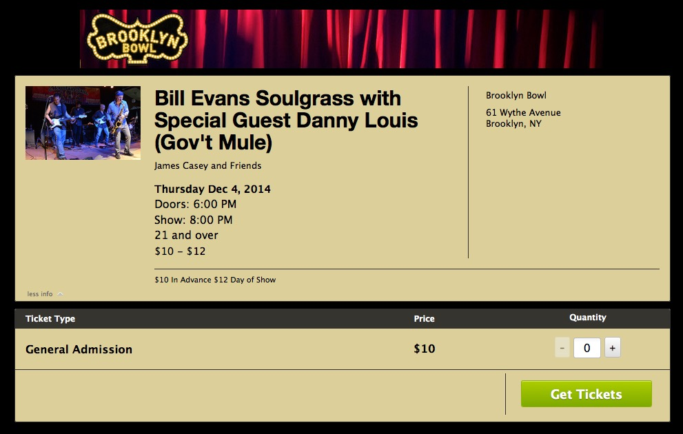Soulgrass with dL @ The Brooklyn Bowl Dec 4th